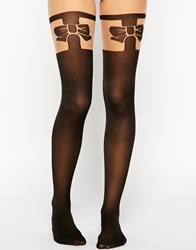 Asos Bow Over The Knee Tights Black