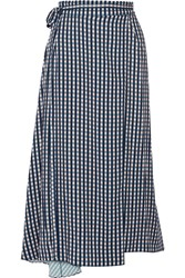 Preen Traiber Printed Twill Wrap Skirt Navy