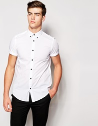 Smart Shirt In Short Sleeve With Contrast Buttons And Button Down Collar White