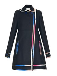 Marco De Vincenzo Multicoloured Ombr Leather Seams Wool Coat