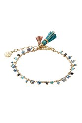 Gas Bijoux Armband Gipsy 24Kt Gold Plated Bracelet With Glass Beads Green