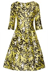 Oscar De La Renta Silk Jacquard Dress Bright Yellow