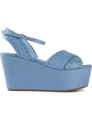Studio Pollini Broguing Detail Wedge Sandals Blue