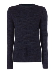Label Lab Men's Burke Multicoloured Crew Neck Jumper Navy