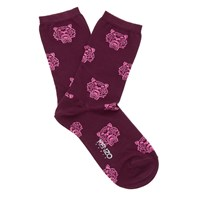 Kenzo Women's Tiger Heads Socks Burgundy Red