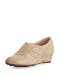 Taryn Rose Pooms Traveler Metallic Suede Wedge Sneaker Taupe Brown