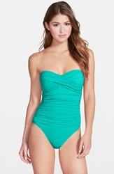 Lablanca Twist Front Bandeau One Piece Swimsuit Lagoon
