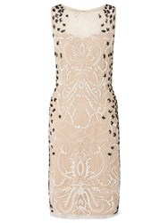 Ariella Dionne Short Beaded Dress Nude