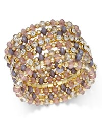 Inc International Concepts Gold Tone Bead And Crystal Coil Bracelet Only At Macy's