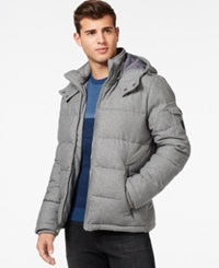 Guess Quilted Down Filled Jacket With Removable Hood Light Grey