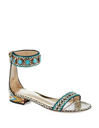 Sebastian Patterned Sandals Turquoise