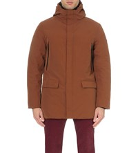 Armani Jeans Hooded Quilted Parka Coat Maroon