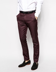 Selected Tuxedo Trousers In Skinny Fit Plum