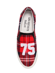 Les Art Ists X Swear Plaid Cotton Flannel Slip On Sneakers Red