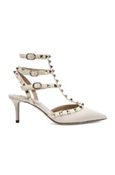 Valentino Rockstud Leather Slingbacks T.65 In White