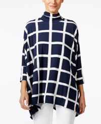 Alfani Turtleneck Poncho Top Only At Macy's Paint Plaid Navy