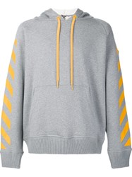 Moncler X Off White Signature Stripe Hoodie Grey
