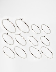 Asos 12 Pack Fine Rings With Ball Detail Silver