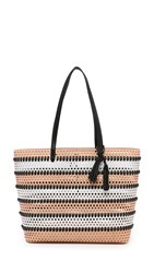 Loeffler Randall Perforated Beach Tote Nude White Black