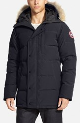 Men's Canada Goose 'Carson' Slim Fit Hooded Packable Parka With Genuine Coyote Fur Trim Black