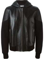 Givenchy Lambskin Panelled Hooded Jacket Black