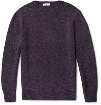 Inis Meain Ini Melange Merino Wool Weater Dark Purple