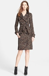Burberry 'Kensington' Leopard Print Trench Coat Camel