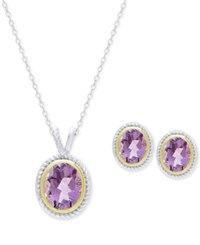 Victoria Townsend Amethyst Pendant Necklace And Stud Earrings Set 4 Ct. T.W. Set In Sterling Silver And 18K Gold Plate