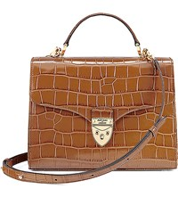 Aspinal Of London Mayfair Crocodile Embossed Leather Bag Tan