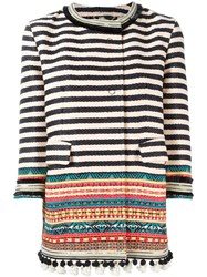 Bazar Deluxe Striped Tapestry Coat Nude And Neutrals