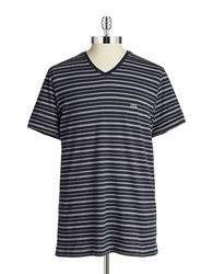 Lacoste V Neck Tee Navy Blue