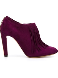 Chloe Chloe Fringed Booties Pink And Purple