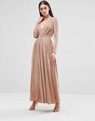 Sistaglam Long Sleeve Slinky Maxi Dress With Front Split Mink Beige