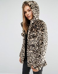 Qed London Leopard Faux Fur Coat With Pom Poms Tan Brown