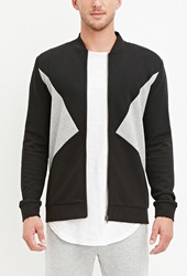 Forever 21 French Terry Colorblocked Jacket Black Heather Grey