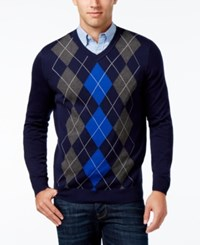 Club Room Men's V Neck Argyle Sweater Only At Macy's Navy Blue