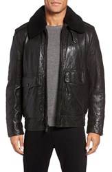Andrew Marc New York Men's Anchorage Leather Aviator Jacket With Detachable Genuine Shearling Collar
