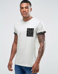 New Look T Shirt With Paint Splatter Print Pocket In Grey Marl Grey Marl Cream