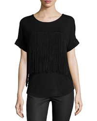 Chelsea And Theodore Fringe Trim Jersey Tee Black Blac