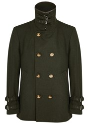 Vivienne Westwood Double Breasted Wool Blend Peacoat Green