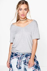 Boohoo Claire Off The Shoulder V Neck Tee Grey