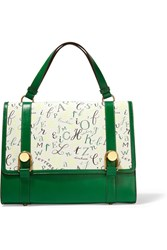 Olympia Le Tan Victoire Printed Cotton Canvas And Leather Tote Green