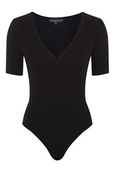 Topshop Petite Wrap Body Black