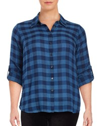 Vince Camuto Plus Gingham Button Front Shirt Naval Navy