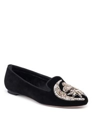 Alexander Mcqueen Jeweled Velvet Loafers Black Silver