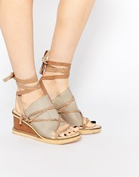 Free People Bowery Dove Grey Wedge Sandals Grey