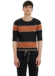 Telfar Raw Layered Crew Neck Striped T Shirt Black