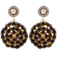 Kastur Jewels Victorian White Sapphire And Black Onyx Earrings Black White Silver
