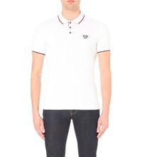 Armani Jeans Slim Fit Striped Trim Stretch Cotton Polo Shirt White