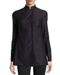 Akris Punto Embroidered Long Sleeve Tunic Blue Marin